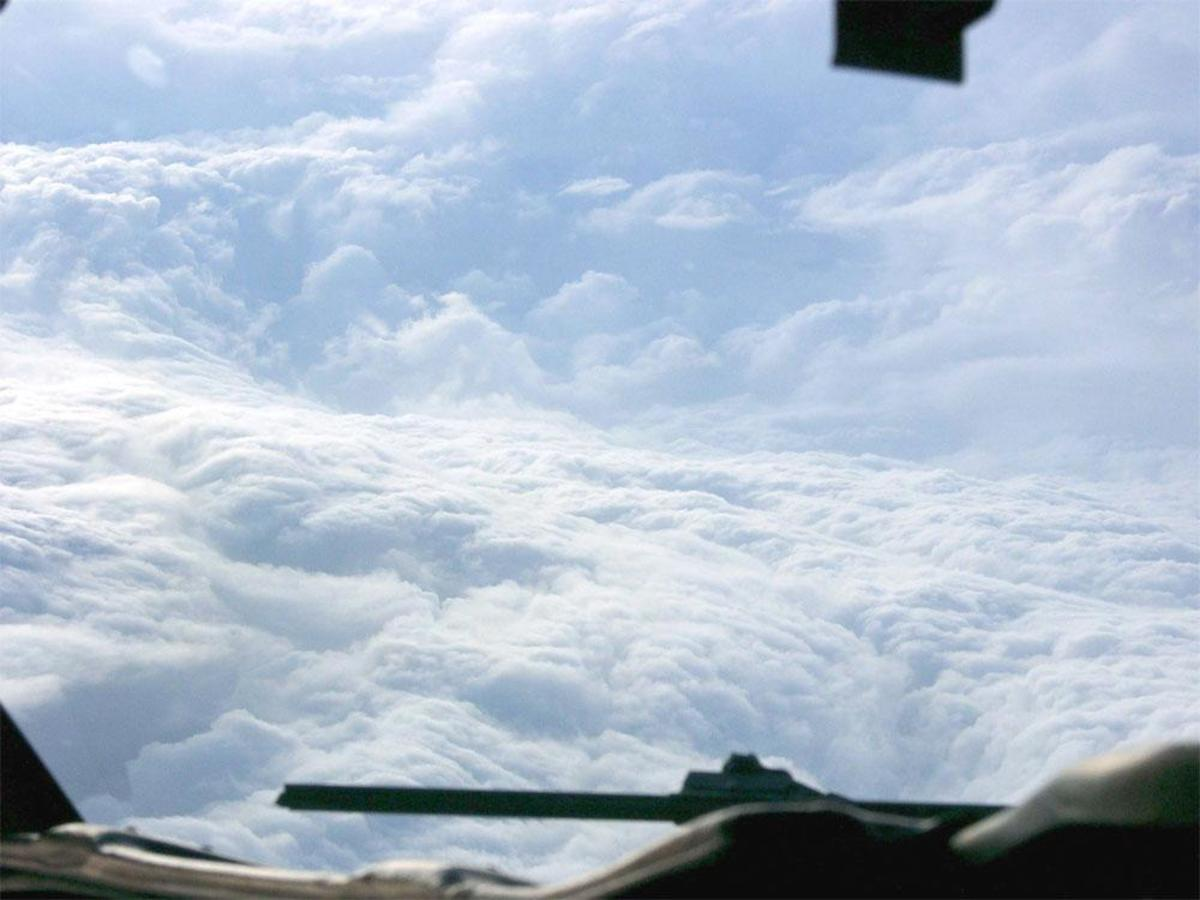 A look into the eye of a hurricane from a Hurricane Hunter aircraft