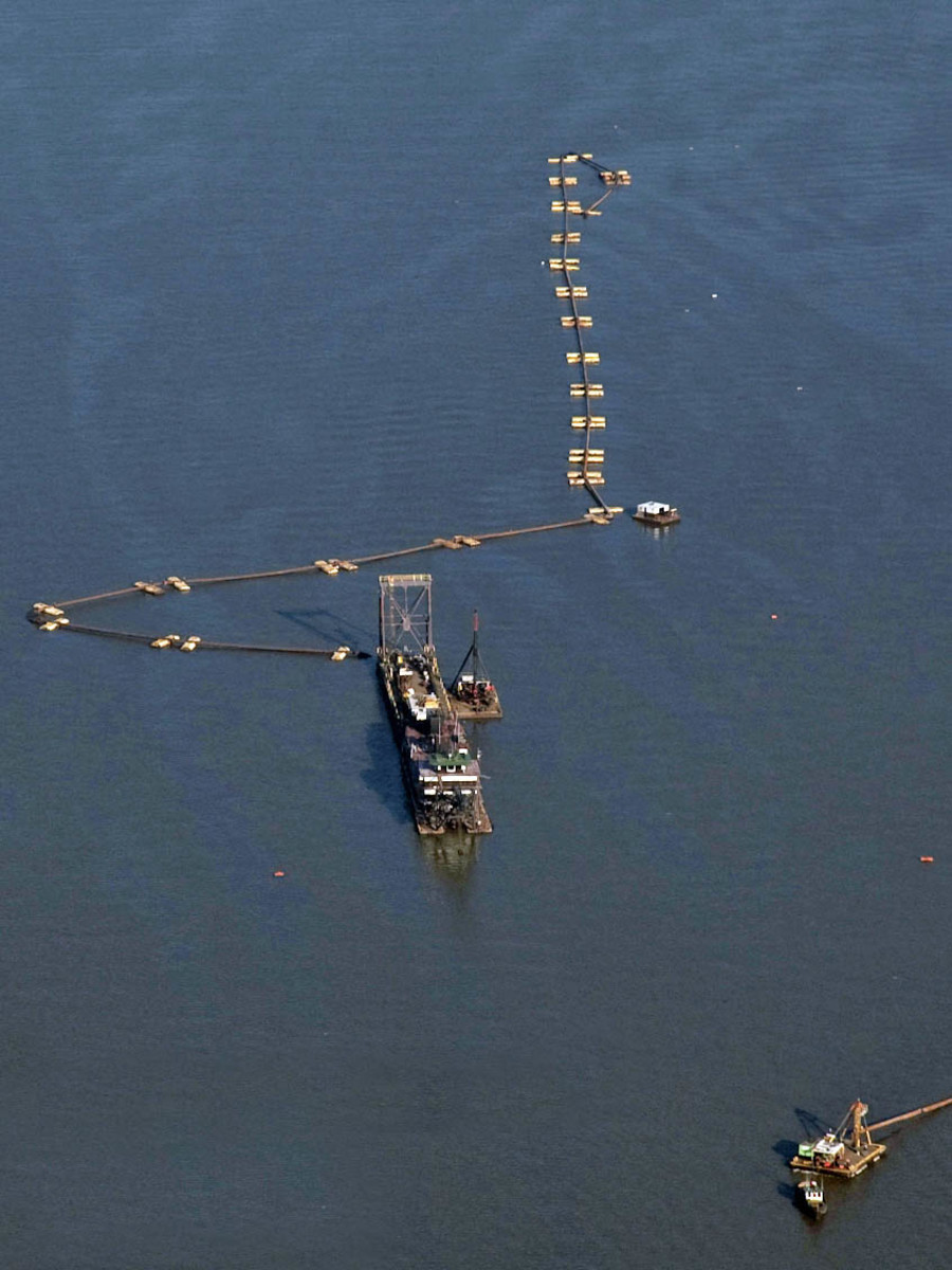 A dredge works the waters off Philadelphia as part of a massive dredging project to deepen 102 miles of the Delaware Bay watershed. (Photo courtesy of U.S. Army Corps of Engineers)