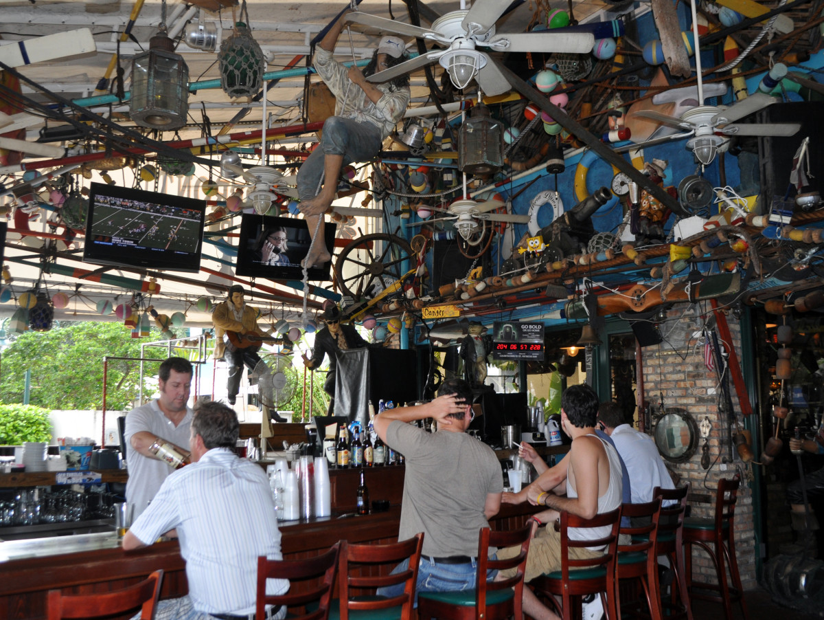 """Saloons such as the Briny, located near a water taxi stop on the New River, abound in """"Fort Liquordale."""""""