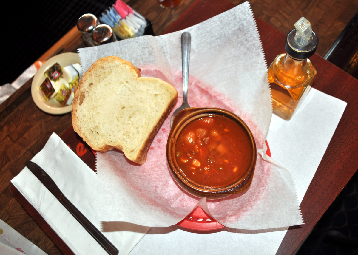 Conch chowder with Bahamian bread is a must-try at Ernie's.