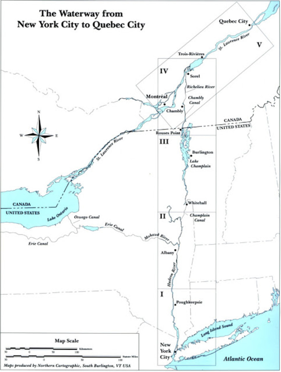 A map illustrating the Erie Canal in comparison to the route cruisers will have to take up to Sorel.