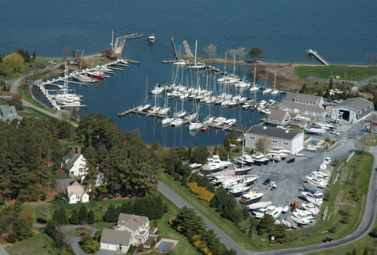 An aerial view of the Bachelor's Point Marina.