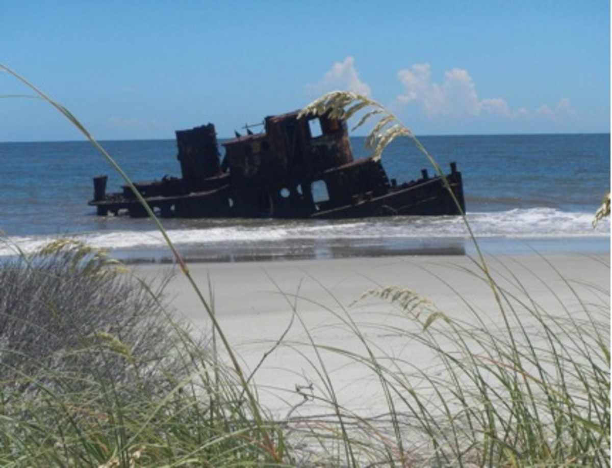Remains of a rusting tug is a landmark on the beach of Little Saint Simons Island.
