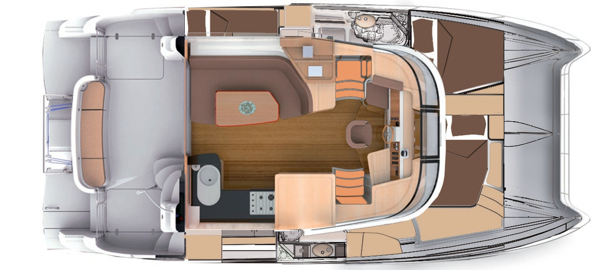 Accommodations are down stairs on either side of the helm, and the Summerland 40 LC is laid out with two cabins in the port side hull and a spacious master stateroom to starboard.