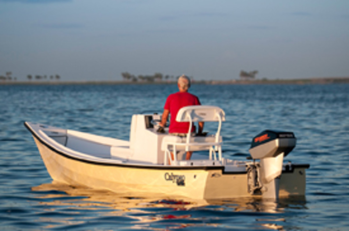 The Calypso Classic Skiff with Torqueedo's Deep Blue propulsion unit.