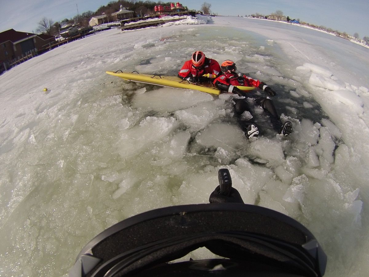 Ice rescue training at Coast Guard Station Grand Haven