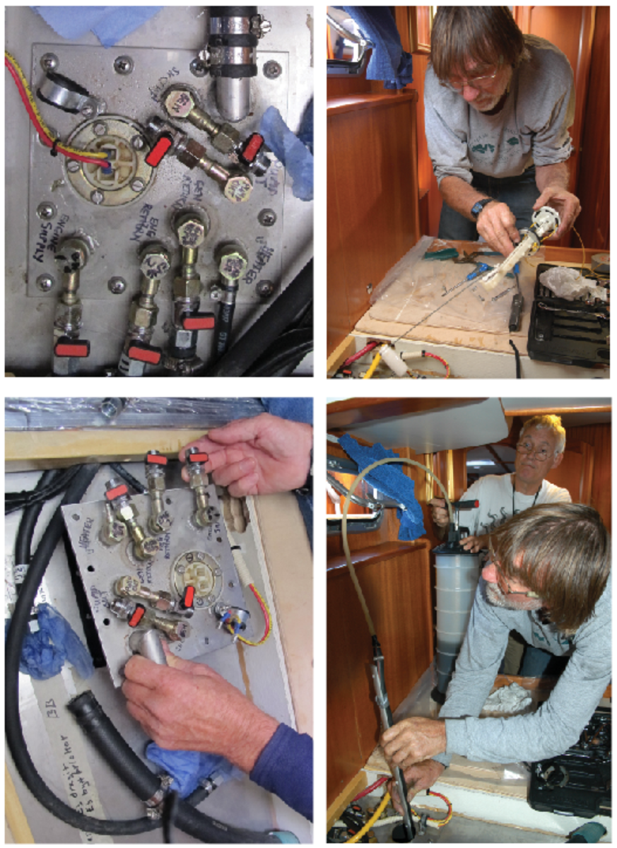 This sequence of photos shows how to access a fuel tank through the tank level sender and fuel lines access plate to clean it out.