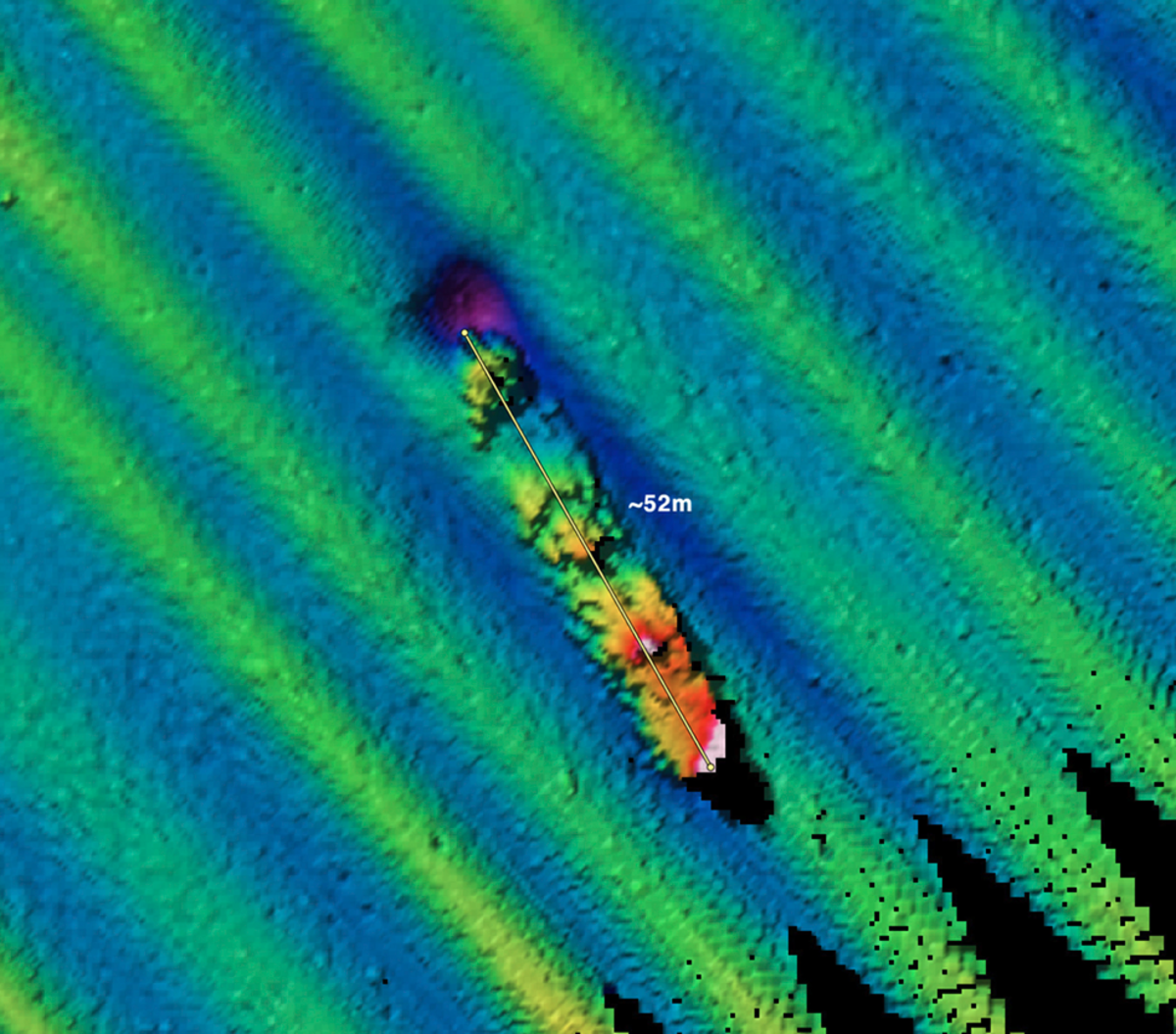In September 2009, a NOAA/Fugro multibeam sonar survey of the area around Farallon Islands documented a probable shipwreck with an estimated length of 170 feet at a depth of 185ft. (NOAA/Fugro)