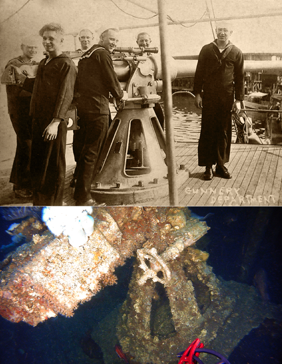 "USS Conestoga gunnery department posing with the tugboat's main battery, a 3-inch 50 caliber naval gun, photograph taken at San Diego, California 1921. Lower photograph is the current position of the gun inside the shipwreck near the forecastle after the gun's support platform had fallen from its original position in front of the pilot house through the main deck. The gun was a key diagnostic artifact or ""smoking gun"" that served to identify the wreck as the USS Conestoga. (Historic photograph, U.S. Naval History and Heritage Command NH 71510. Underwater photograph, NOAA ONMS/Teledyne SeaBotix.)"