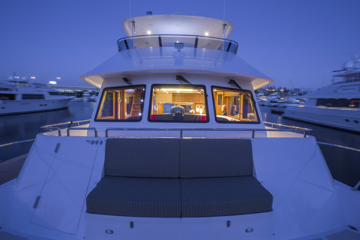 "Interiors onboard Outer Reef 63 ""Guided Discovery"" in Miami, FL."