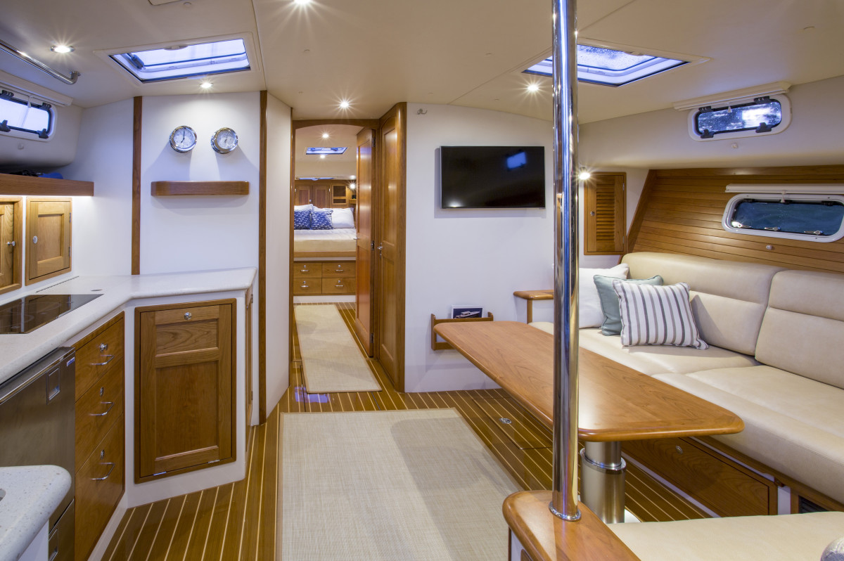 The saloon has a distinct sailboat feel, which stands to reason when you consider J/Boats' Bob Johnstone is the driving force in the design of the entire MJM line.