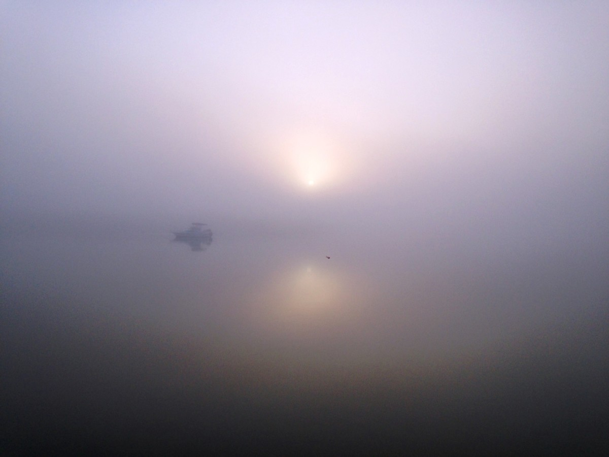 Foggy sunrise in Tarpon Basin.