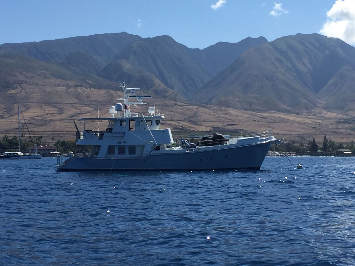 Pendana anchored with Maui in the background.
