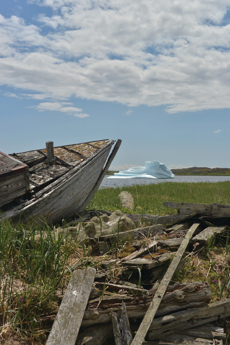 Abandoned fishing boats in Labrador. A number of out villages with no road access along the Labrador coast have been abandoned leaving their boats, nets and other gear.