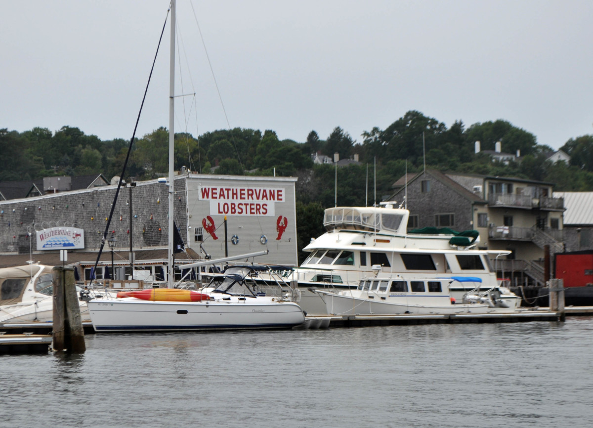 Cutwater approaches the public docks at Belfast. That's Fiddlehead in front of the big motoryacht.