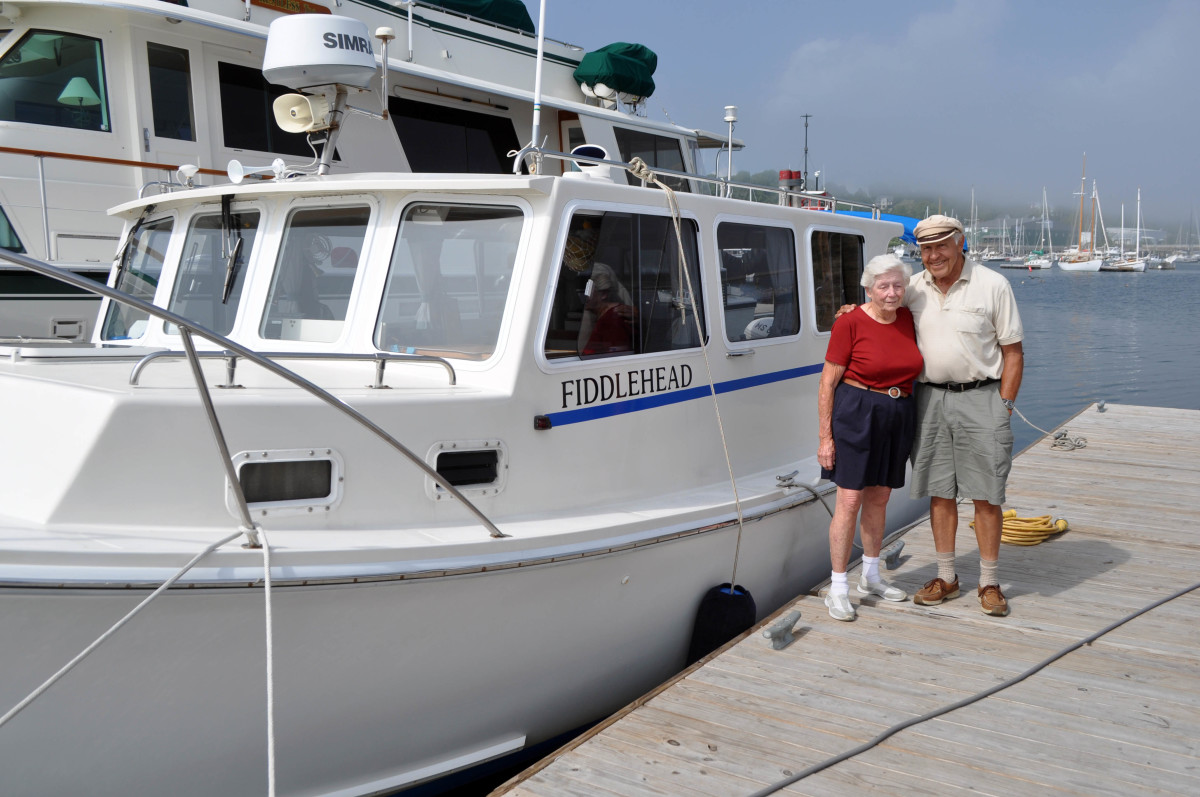 Lou and Nancy Fougere from Bourne, Massachusetts, cruise Maine every year aboard M/V Fiddlehead, a 32-foot BHM lobster yacht.