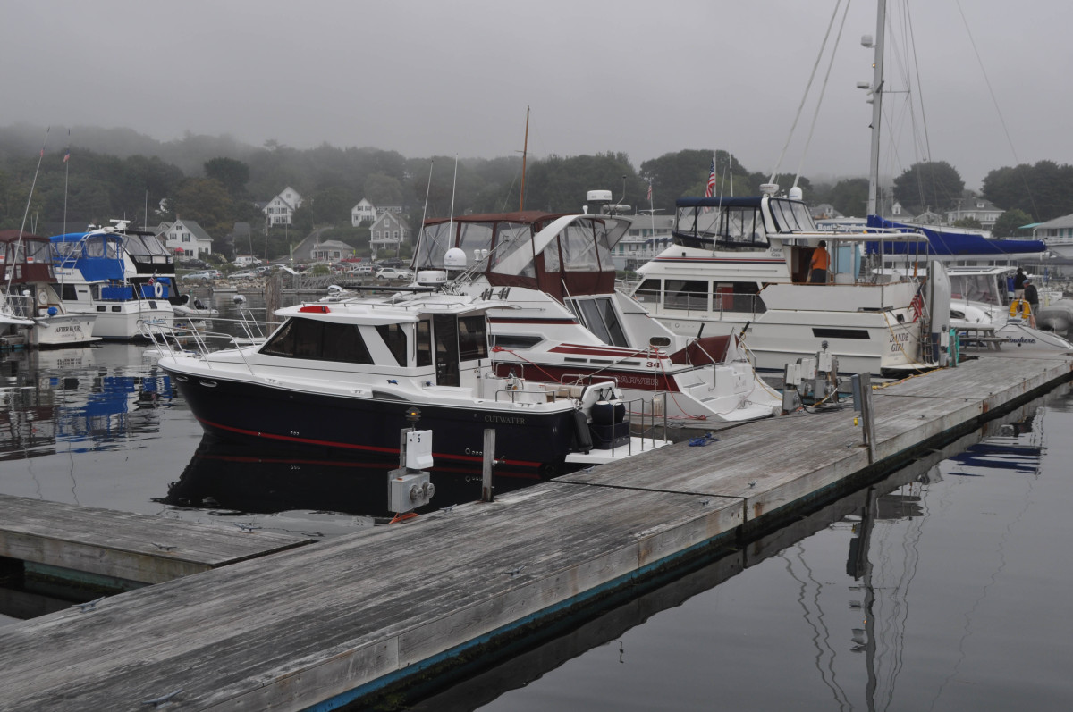 After a stressful transit, Cutwater lies safely alongside the dock at Boothbay Harbor.