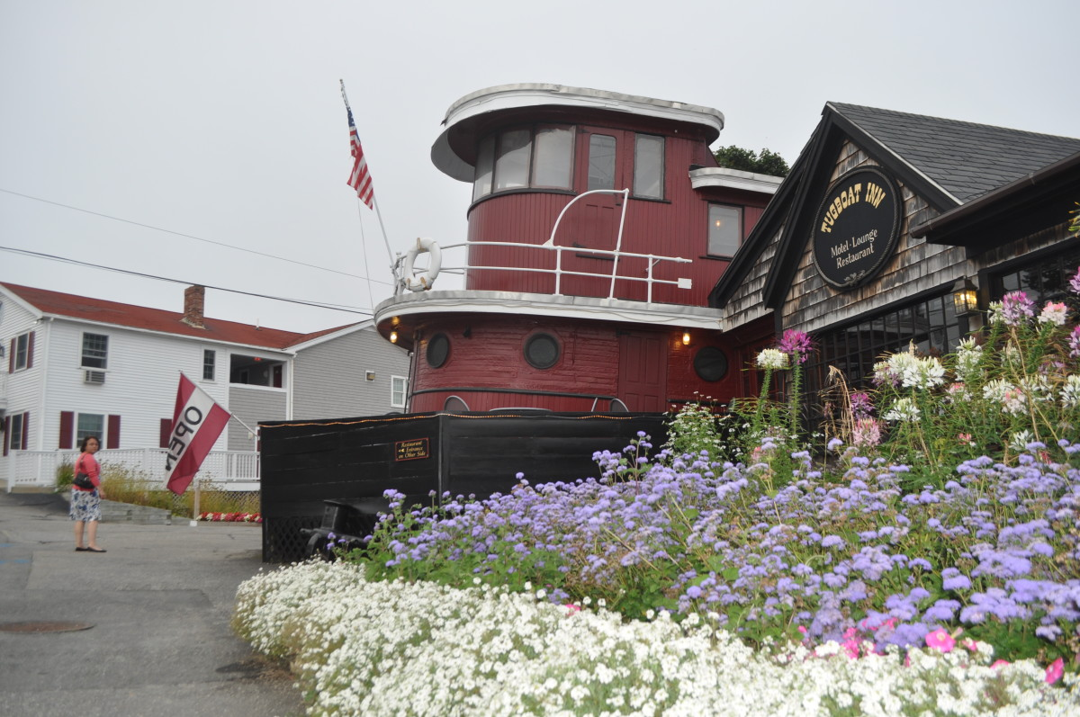 The Tugboat Inn is a Boothbay landmark. Note the flowers. Colorful flower boxes and plots are a Maine tradition.