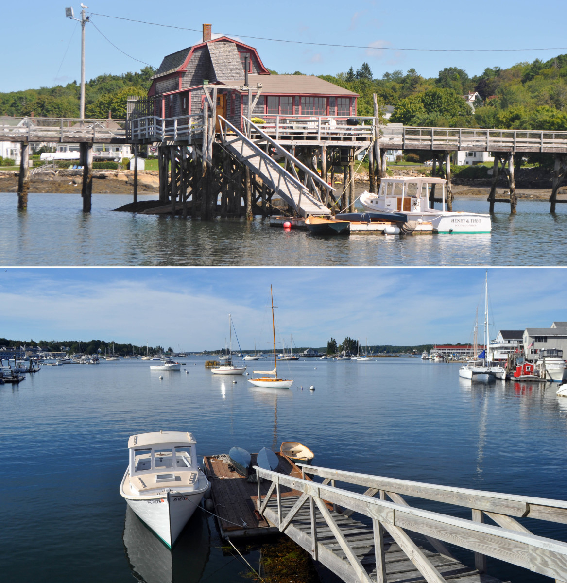 "The famed ""1902 Bridge House"" on the Boothbay Harbor footbridge is for sale again, this time renovated into a cozy cottage. Note the dock and its mini-lobster boat."