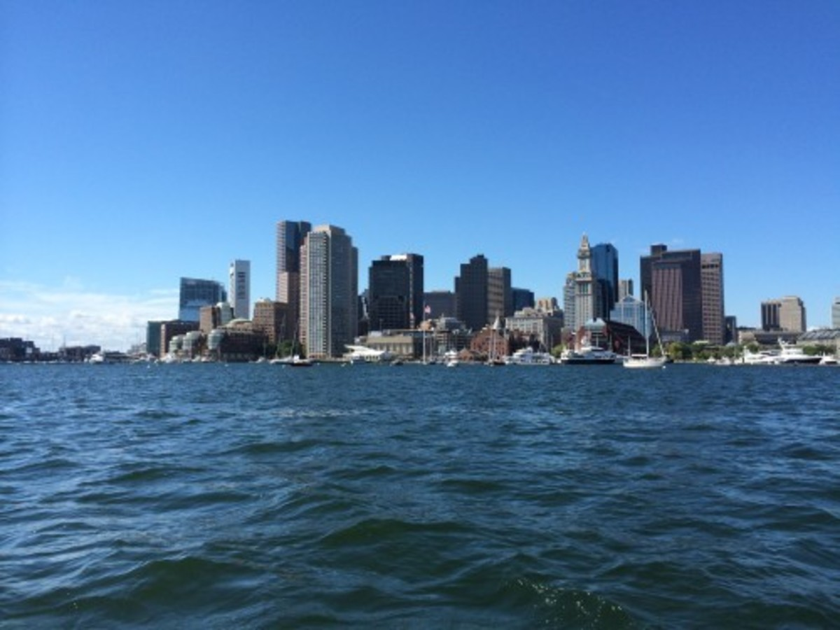 Boston's Financial District, standing tall as we passed by.