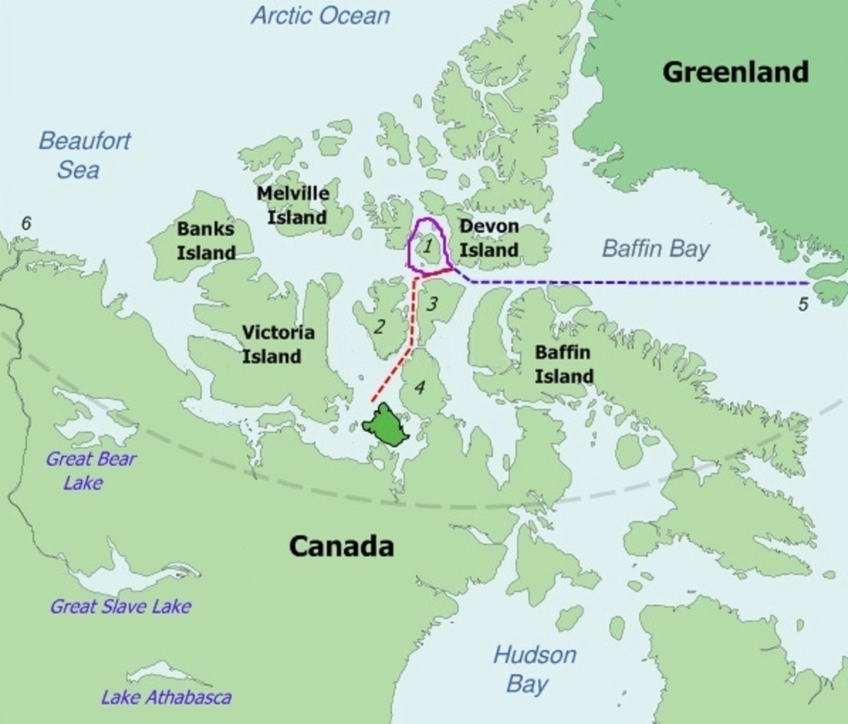 Map of the probable routes taken byErebusandTerrorduring Franklin's lost expedition.