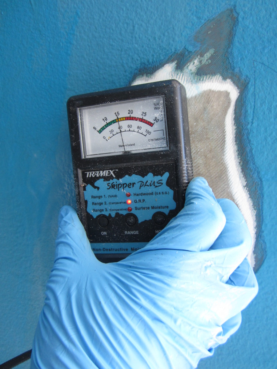 After removing layers of outer-hull material, a moisture meter will indicate how deep moisture has penetrated.