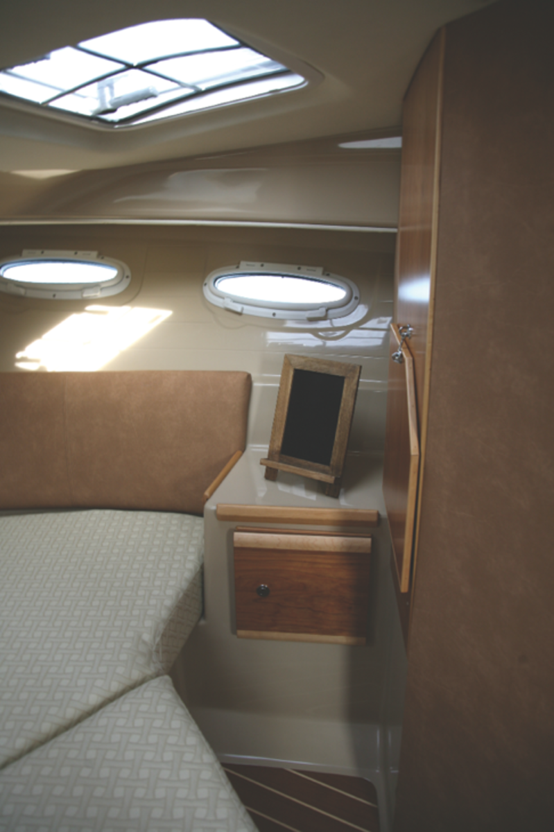 The private cabin belowdecks combines light and layout perfect for both sleep and private relaxation.