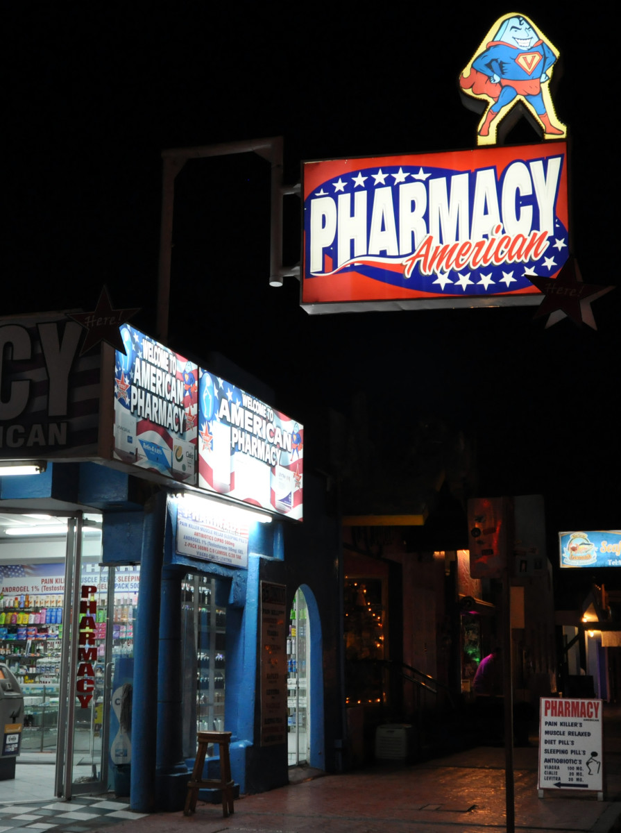 At least a dozen pharmacies catering to American tourists wait within walking distance of the docks.