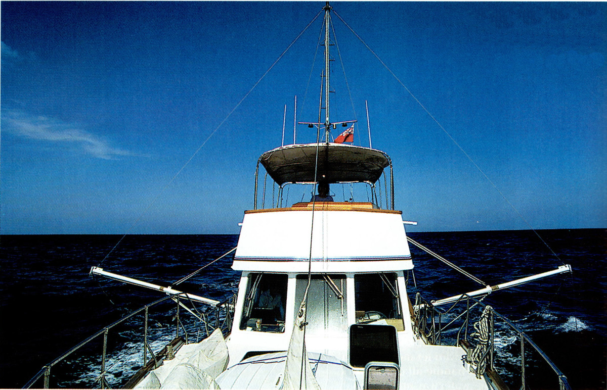 "From the bow looking back. Those metal rods on either side are the ""Flopperstoppers."""