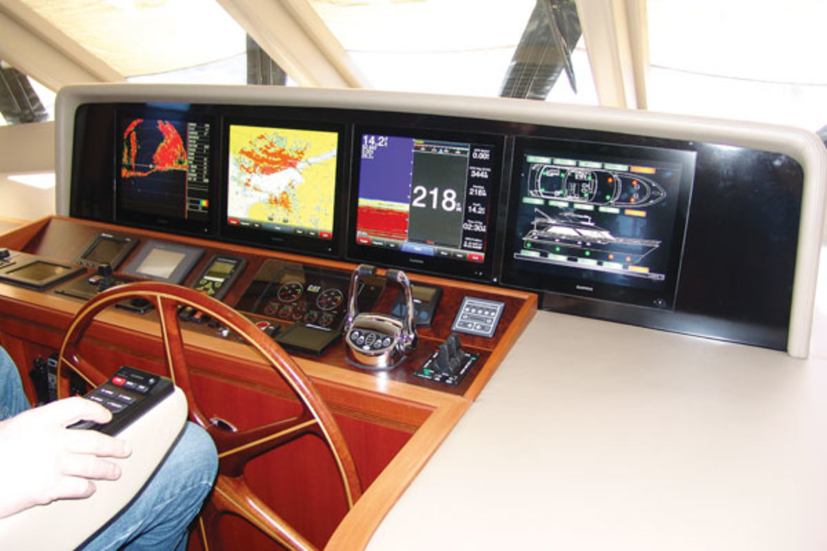 This Ocean Alexander 68 has four 17-inch Garmin 8500 touchscreen with a helm-seat-mounted keypad.