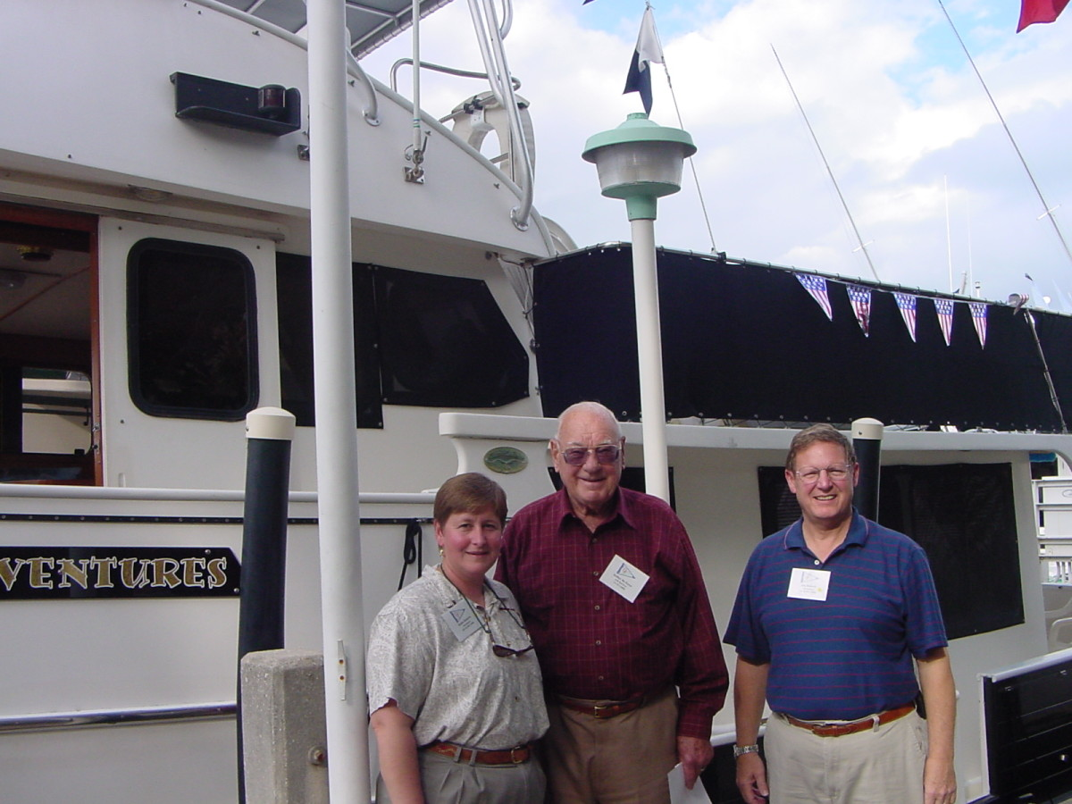 Naval architect, Art DeFever, on a visit with Jim and Robin Roberts.