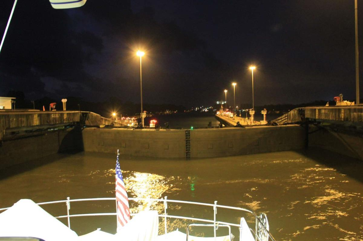 A look back at the Gatun Locks from Argo's aft deck.