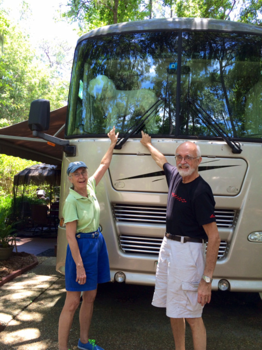 My folks, Jean and Zeke – and Max – in front of their rig.