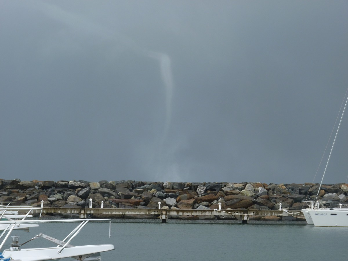 This waterspout zipped north along the coast on Monday and passed just to the east of the marina. We were glad to be in port!
