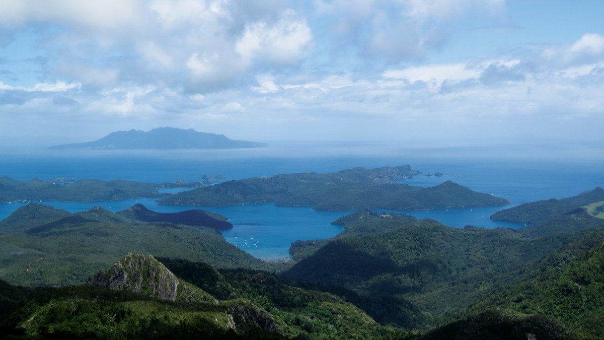 A Boxing Day hike to the top of the 2,057 Mt Hobson at Great Barrier Island. New Zealand maintains many excellent hiking trails.