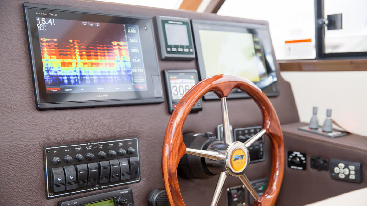 The Cutwater helm is neat and tidy with key displays mounted high on the panel so you don't have to look down too far.