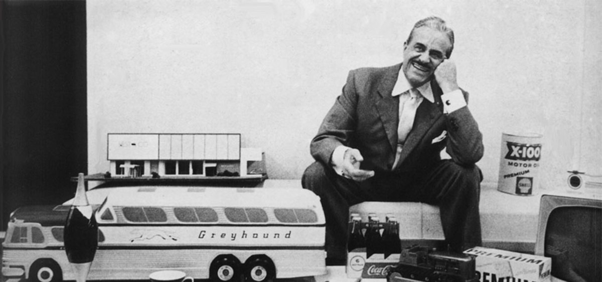 Industrial Designer Raymond Loewy, the designer of the USCG's Racing Stripe at his workshop.
