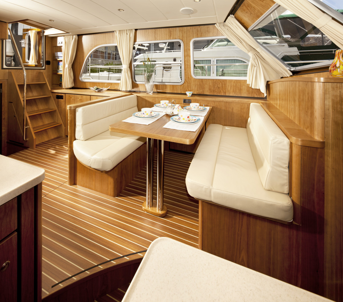 Linssen is dedicated to building high-quality, no frills yachts. The interiors are simple, clean, and functional, as shown here, but constructed to the highest standards.