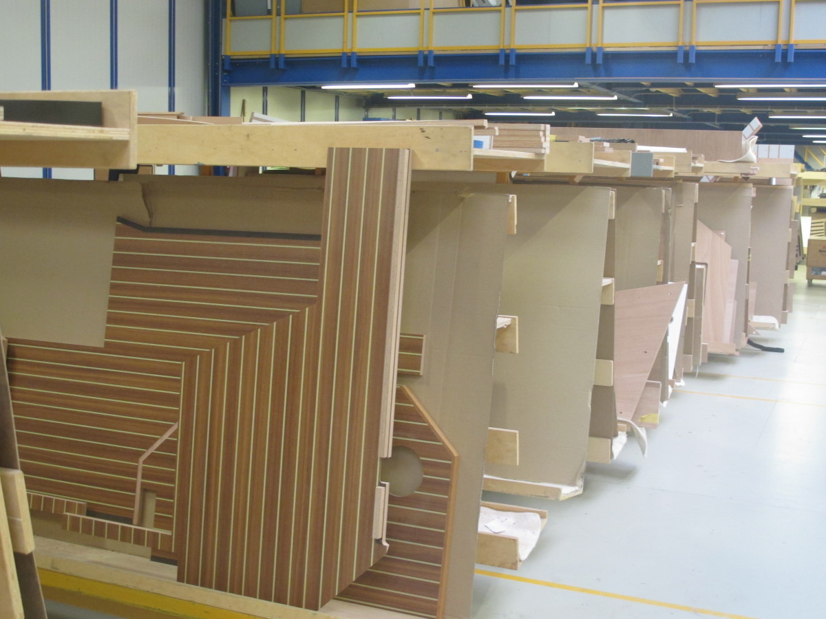 Cut from a CNC router, interior parts await installation.