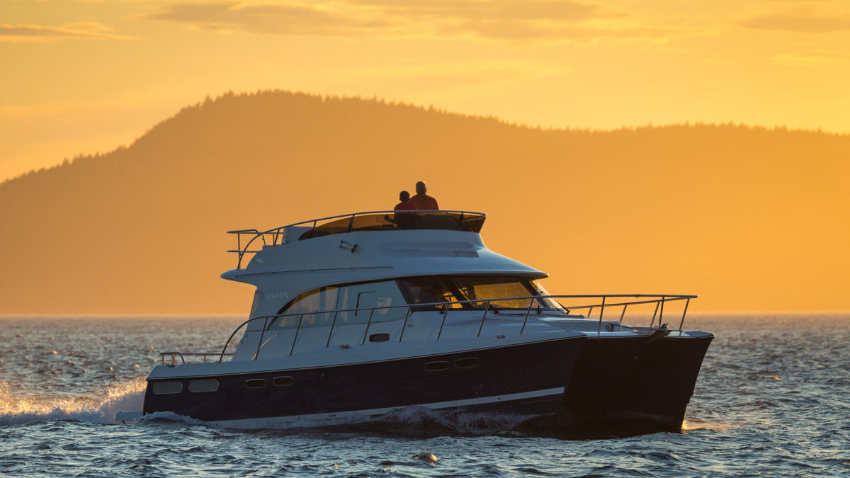 The sunsets in her home waters outside of Anacortes, Washington.