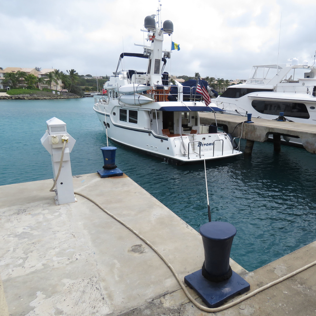 We carry two 75-foot, one-inch dock lines that have been useful on a number of occasions, such as stabilizing the boat in a super-yacht berth in Barbados..