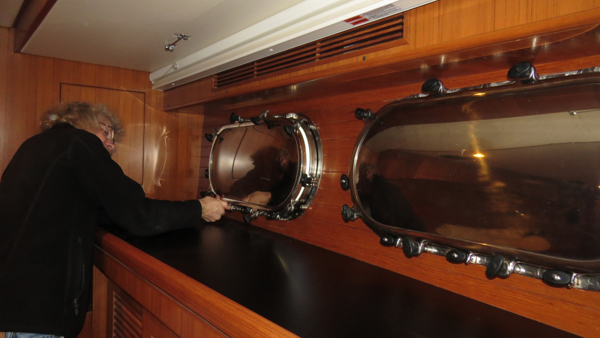 We have deadlights, metal covers that screw into the interior of the porthole, for the eight along the sides of the boat. Deadlights for the master stateroom are particularly important because the portholes there are large and close to the waterline.