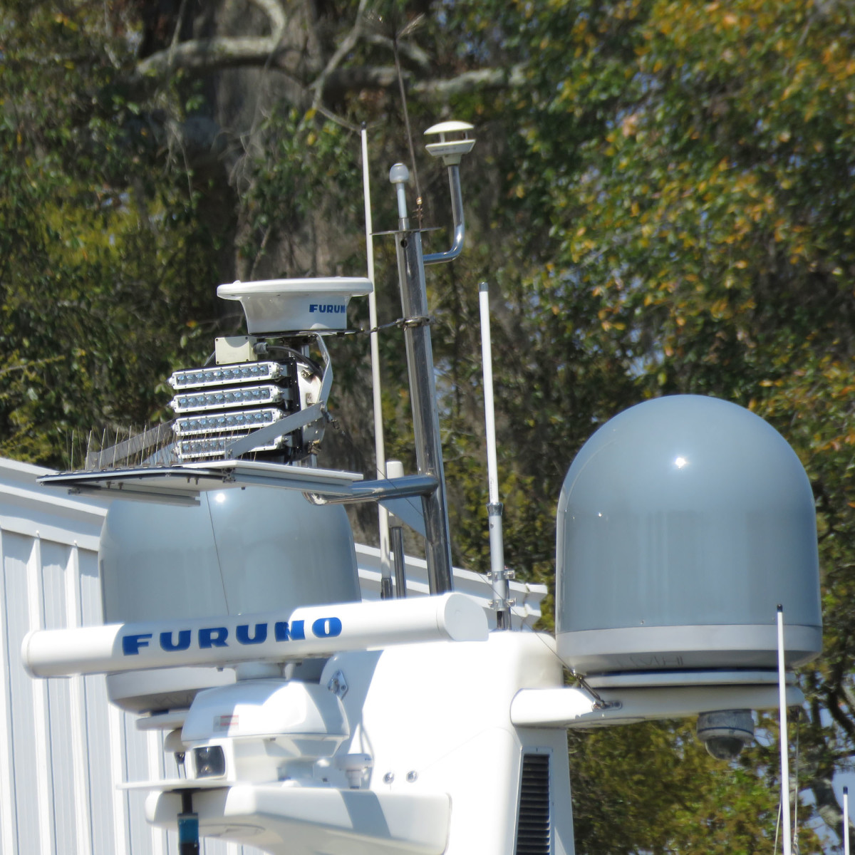 We mounted a floodlight high on the stack with a marine board shield under it, and another shield under our steaming light, to ensure no light shines on deck and impacts our night vision.