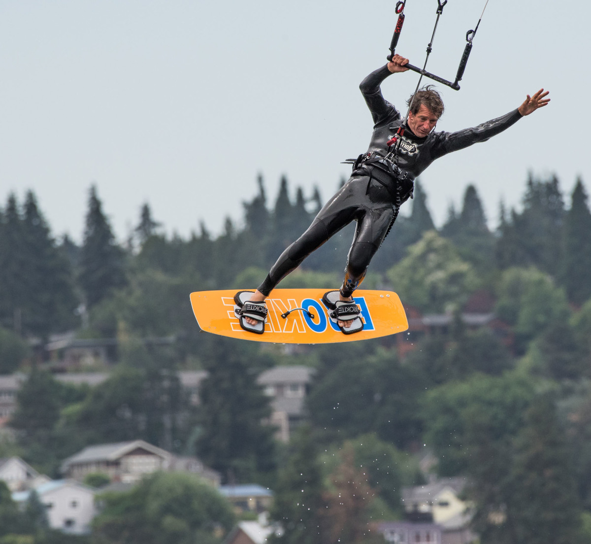 A daredevil show his stuff in Hood River, the kite surfing capital of the world.