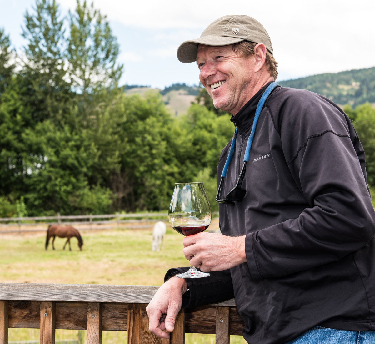 "Venture's captain Chris Conklin enjoys a wine tasting event along Hood River County's ""Fruit Loop."""