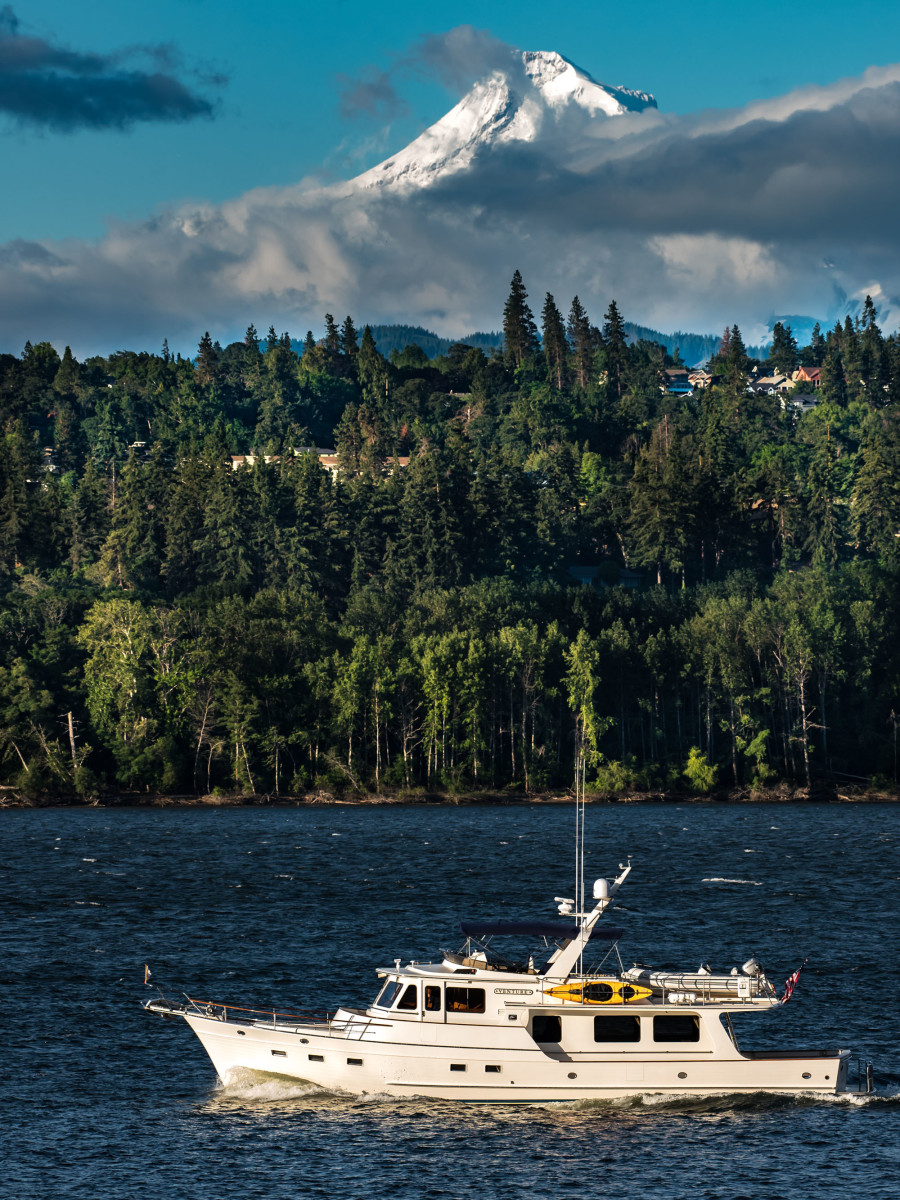 Venture heads toward the town of Hood River on the Columbia River with Majestic, snow capped Mt. Hood in the background.