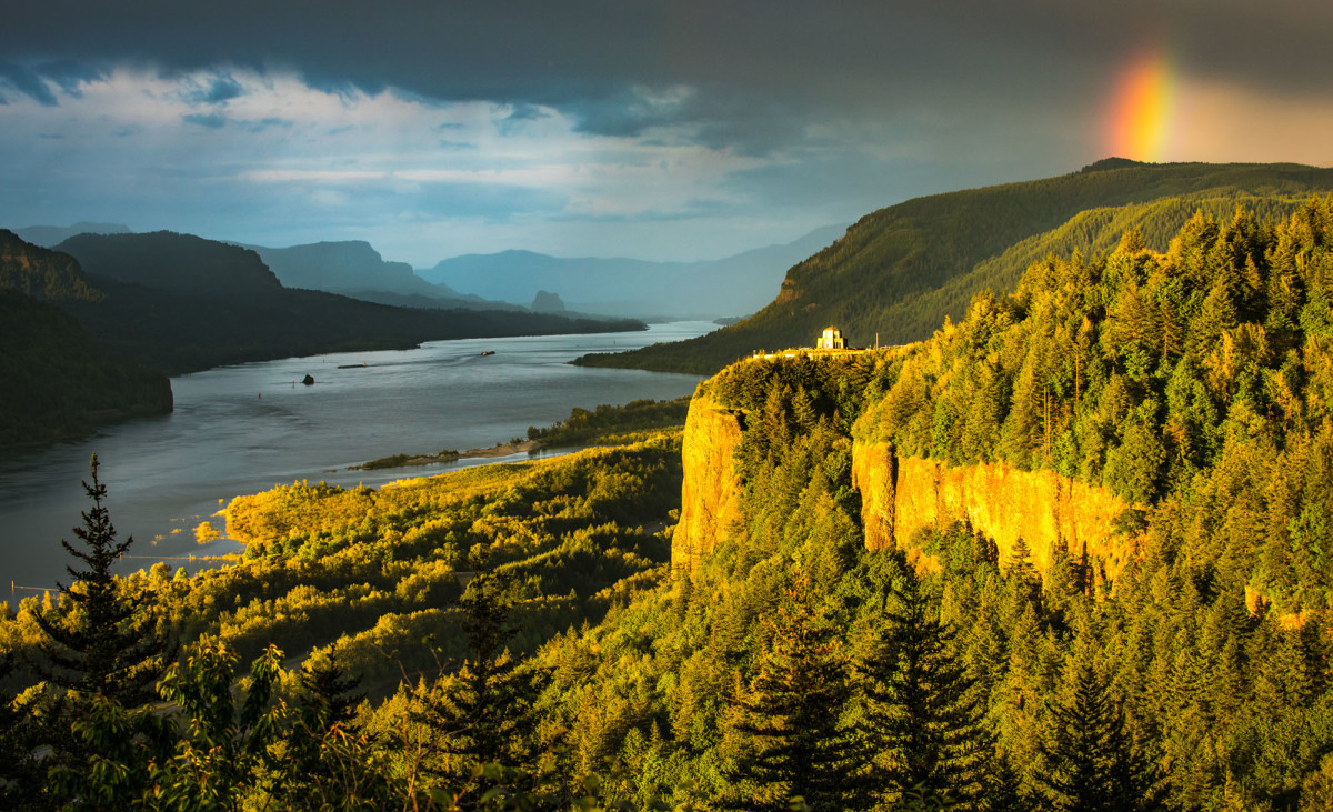 """The historic Vista House observatory sits 733-feet above the Columbia River at Crown Point, keep a close watch on the Columbia River Gorge."""