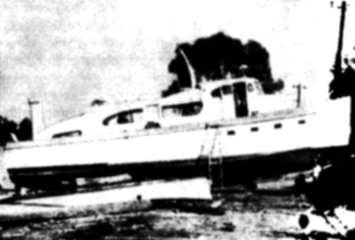 Granma is hauled and undergoing a refit in Tuxpan, Mexico, 1956.