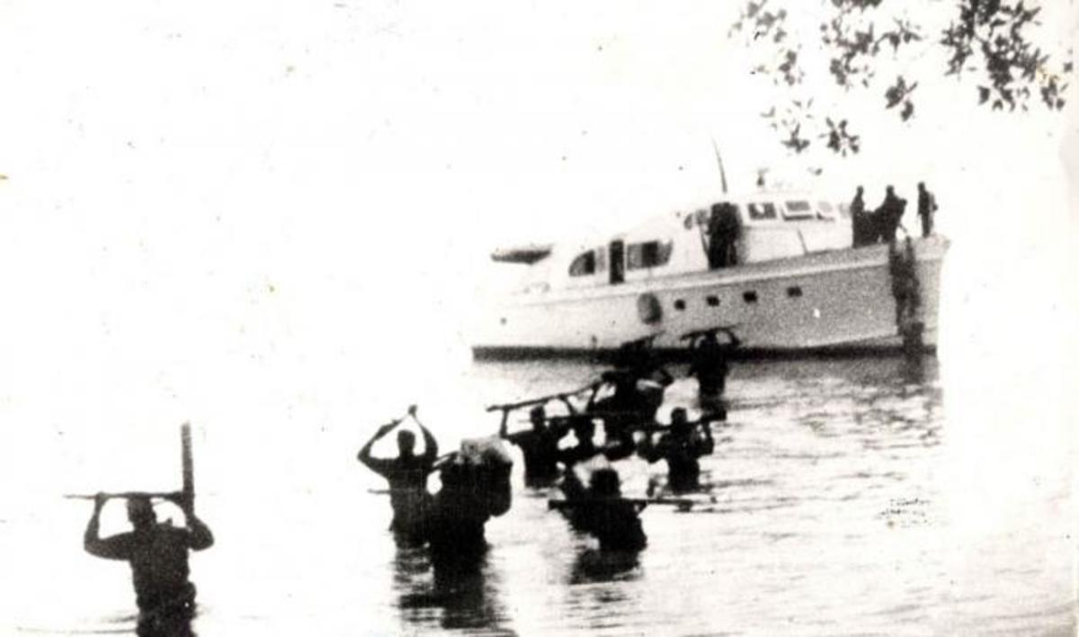 This is the famous fuzzy photo of the Castro's fighters disembarking. Only about 20 of the 82 survived the first 72 hours.