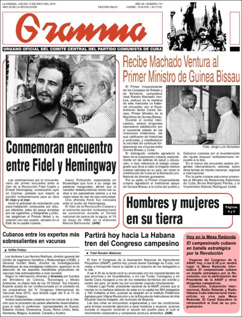Granma observes the anniversary of the day that Fidel Castro met Ernest Hemingway.